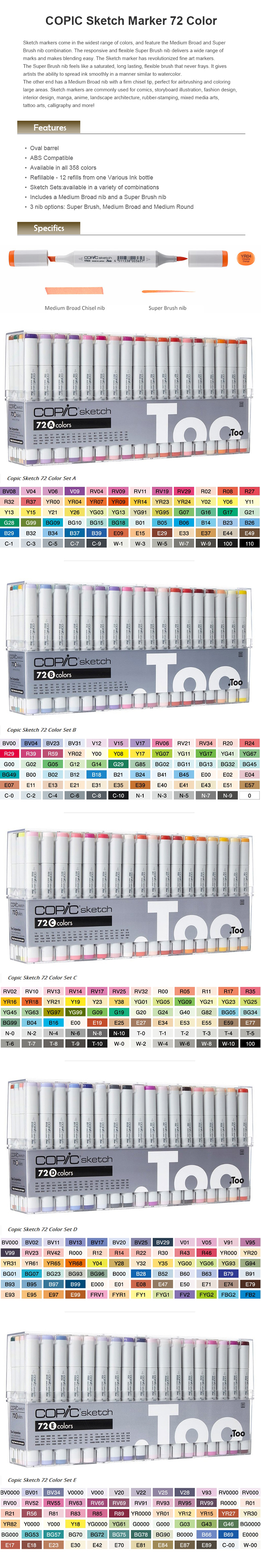 Copic Sketch Marker 72 Color Set C Premium Artist Markers