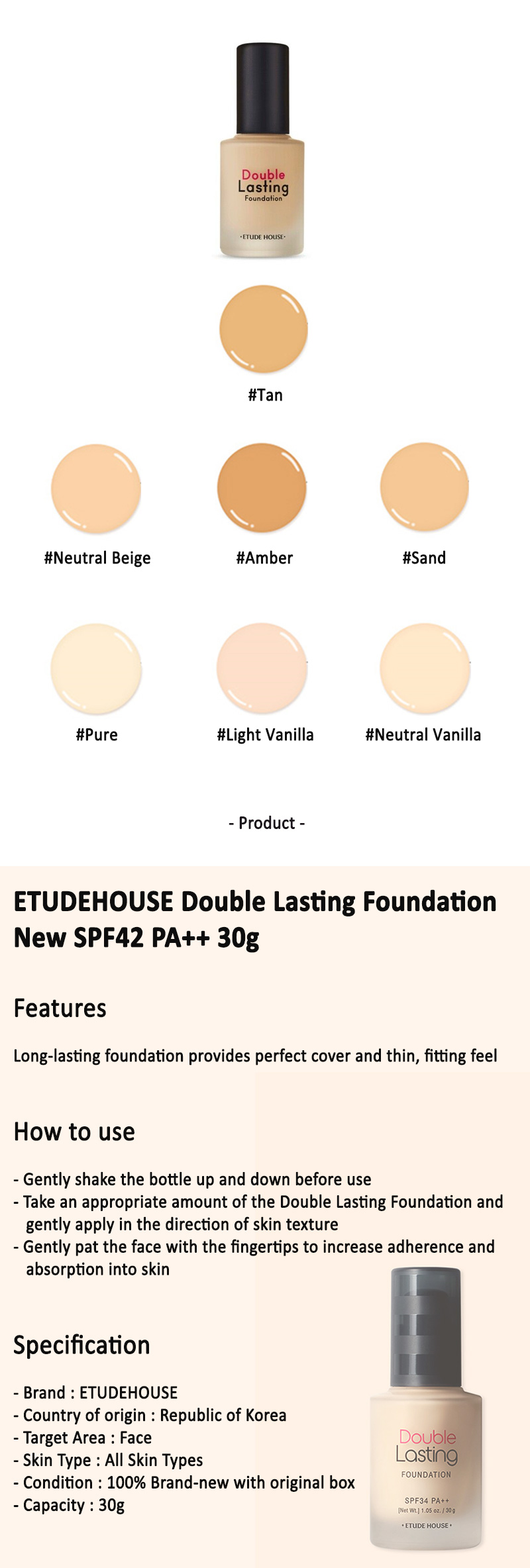 Etude House Double Lasting Foundation New Spf42 Pa 30g New Neutral Vanilla